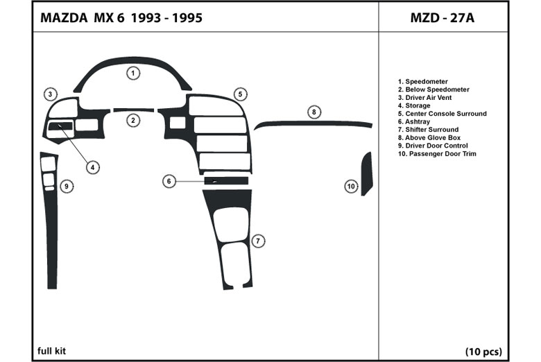 1993 Mazda MX-6 DL Auto Dash Kit Diagram