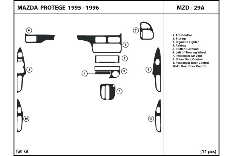 1995 Mazda Protege DL Auto Dash Kit Diagram
