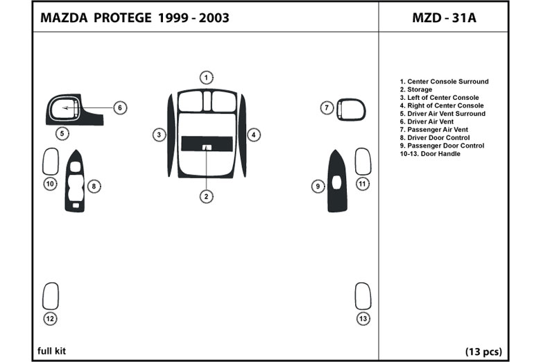 2001 Mazda Protege DL Auto Dash Kit Diagram