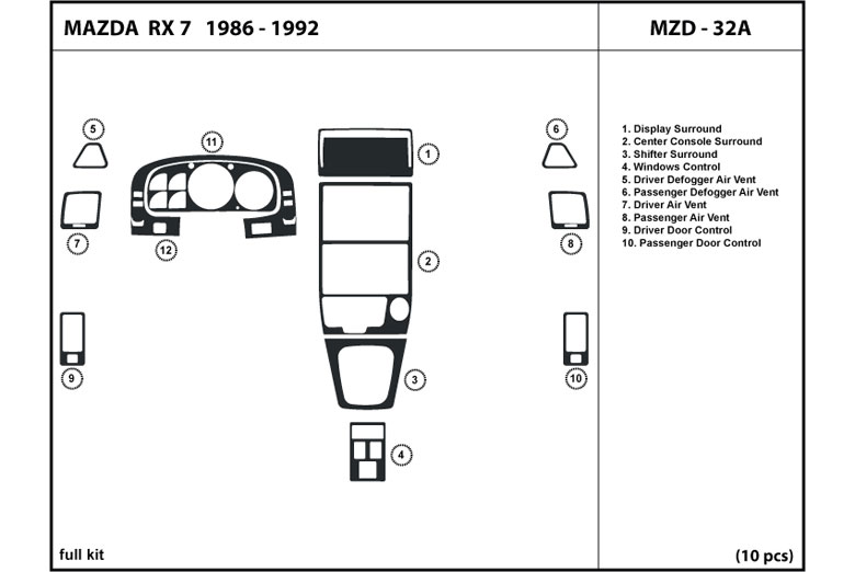 1991 Mazda RX-7 DL Auto Dash Kit Diagram