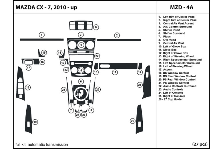 2011 Mazda CX-7 DL Auto Dash Kit Diagram
