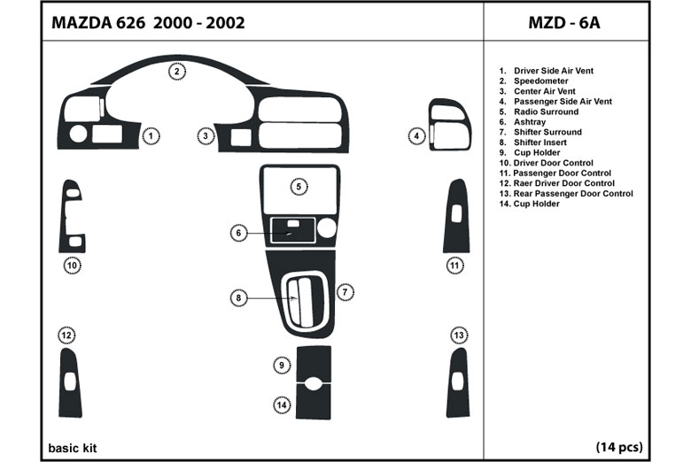 2000 Mazda 626 DL Auto Dash Kit Diagram
