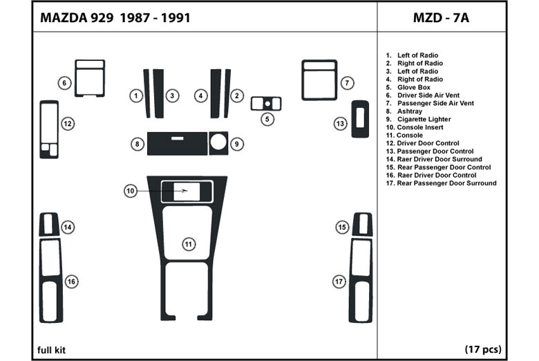 1988 Mazda 929 DL Auto Dash Kit Diagram