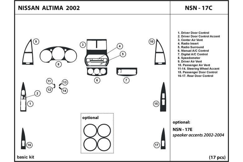 Dash Kit Trim for ALTIMA 03-04 2003 2004 Interior Tuning Dashboard NSN-18C