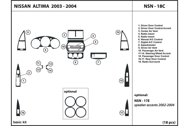 2004 Nissan Altima DL Auto Dash Kit Diagram