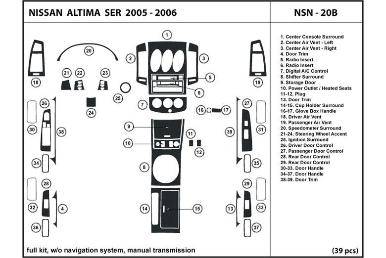 2005 nissan altima dl auto dash kit diagram