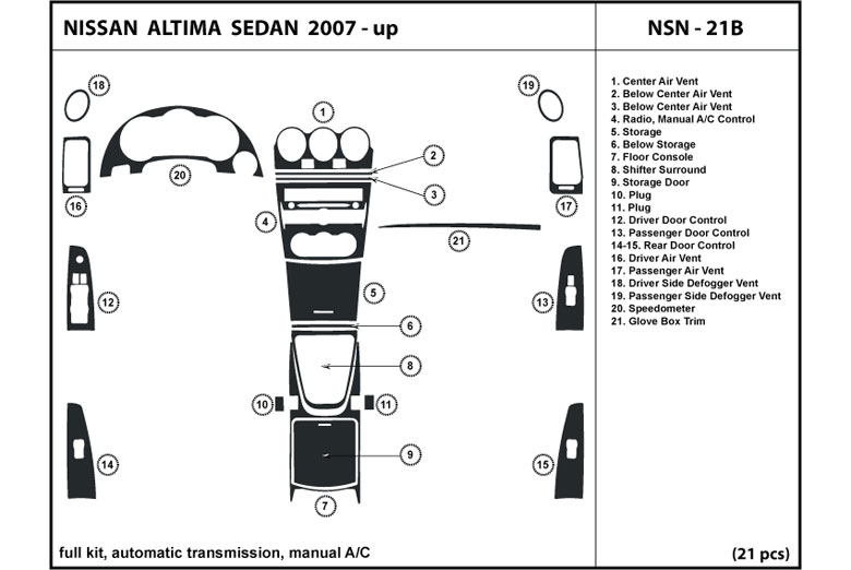 2012 Nissan Altima DL Auto Dash Kit Diagram