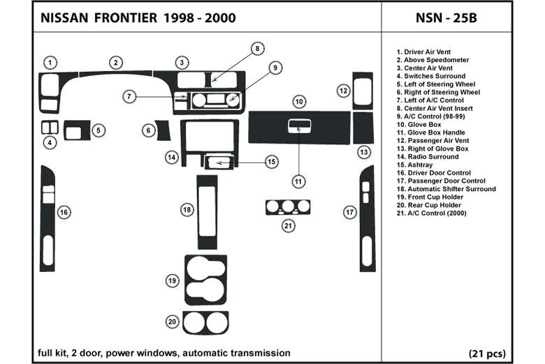 1998 nissan frontier dl auto dash kit diagram