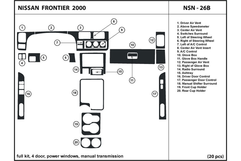2000 Nissan Frontier DL Auto Dash Kit Diagram