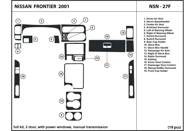 2001 Nissan Frontier DL Auto Dash Kit Diagram