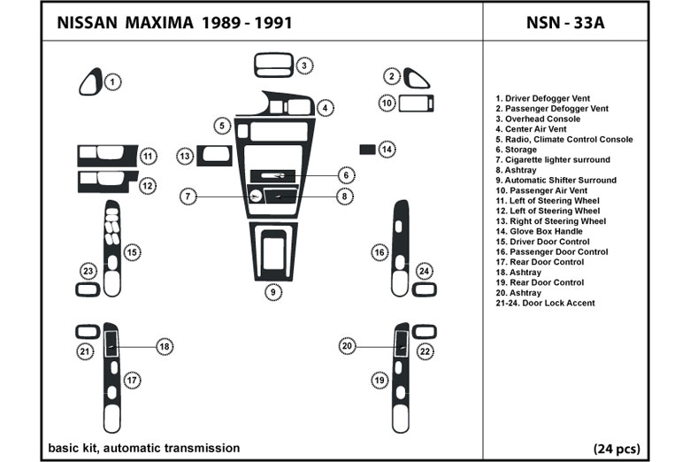 1990 Nissan Maxima DL Auto Dash Kit Diagram