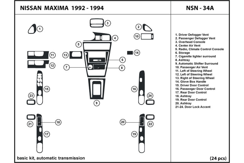 1993 Nissan Maxima DL Auto Dash Kit Diagram