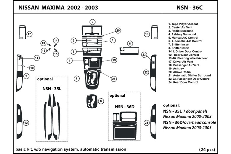 2002 Nissan Maxima DL Auto Dash Kit Diagram