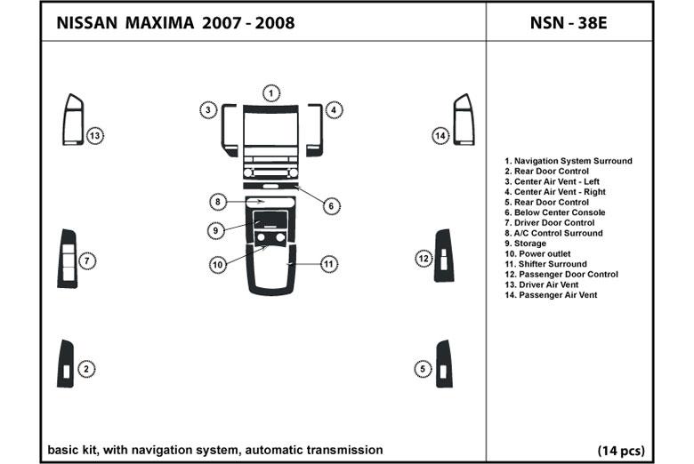 Dash Kit Trim for Maxima 2007 2008 Wood Carbon Chrome Cover Dashboard NSN-38E