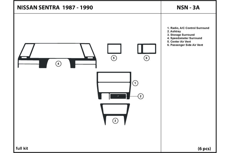 1987 Nissan Sentra DL Auto Dash Kit Diagram