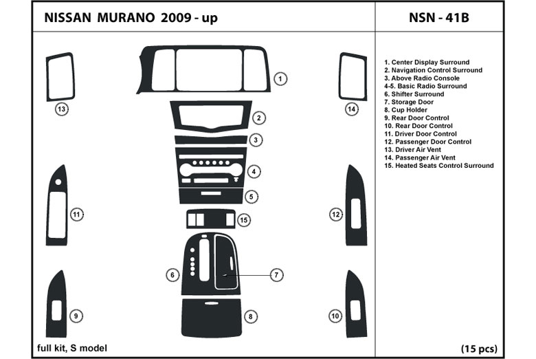 2009 Nissan Murano DL Auto Dash Kit Diagram