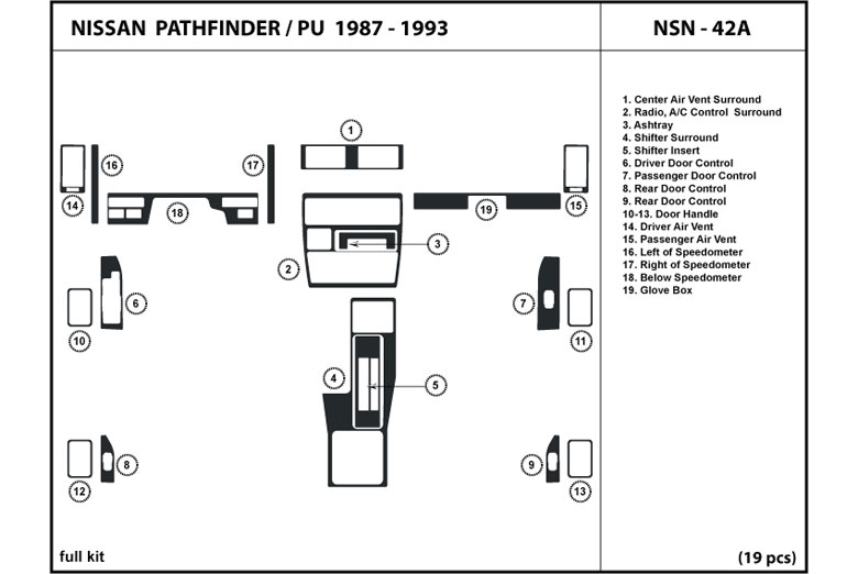 1989 Nissan Pathfinder DL Auto Dash Kit Diagram
