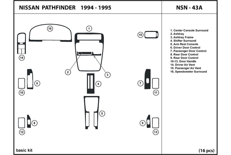 1995 Nissan Pathfinder DL Auto Dash Kit Diagram