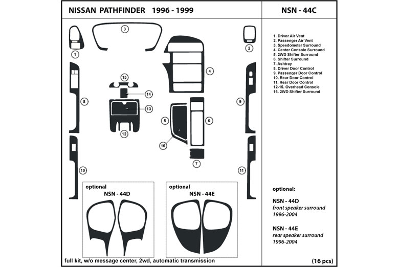 1997 Nissan Pathfinder DL Auto Dash Kit Diagram