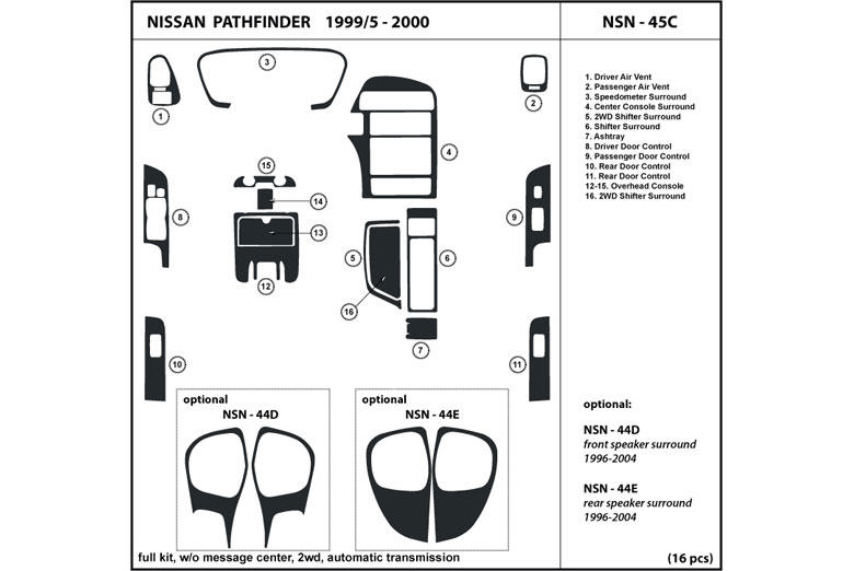 1999 Nissan Pathfinder DL Auto Dash Kit Diagram