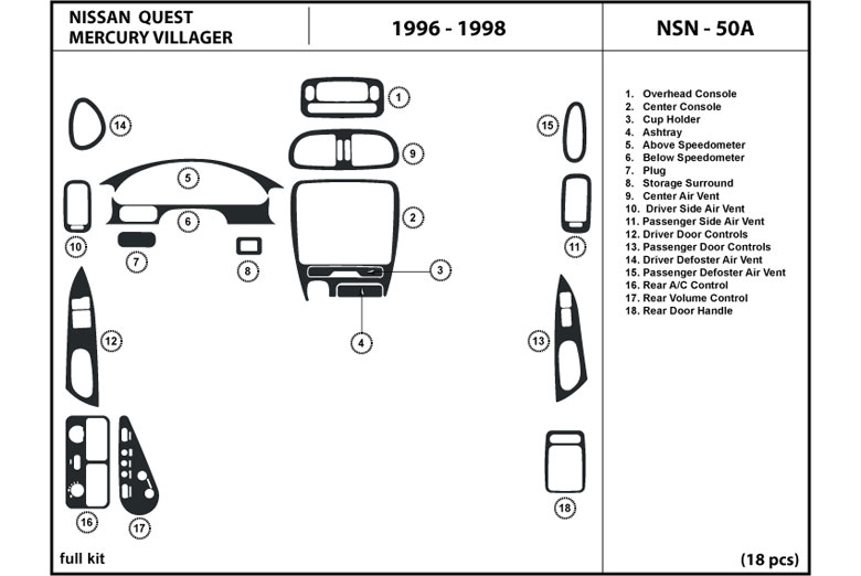 1997 Nissan Quest DL Auto Dash Kit Diagram