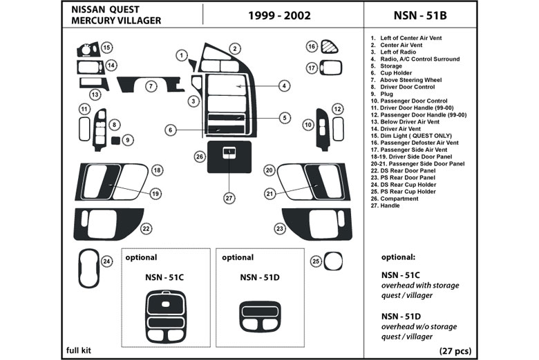 dl auto mercury villager 1999 2002 dash kits. Black Bedroom Furniture Sets. Home Design Ideas