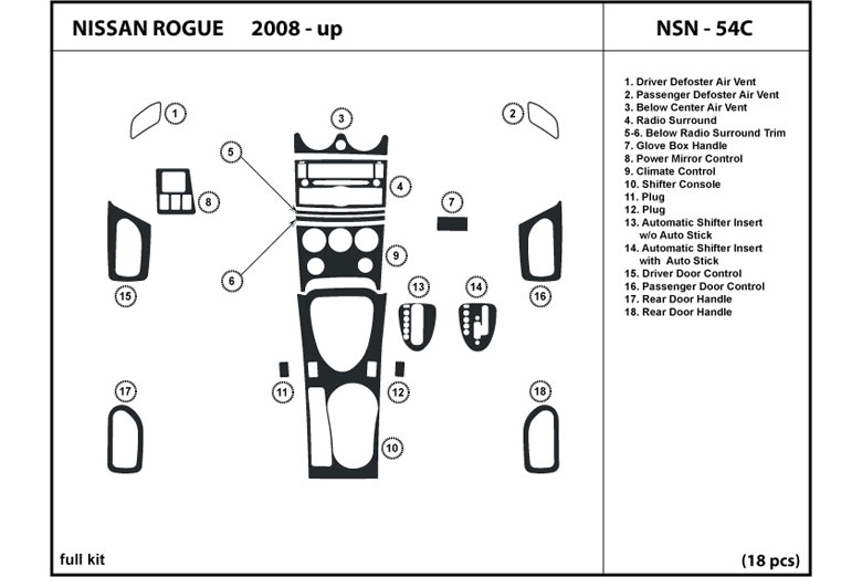 2009 Nissan Rogue DL Auto Dash Kit Diagram
