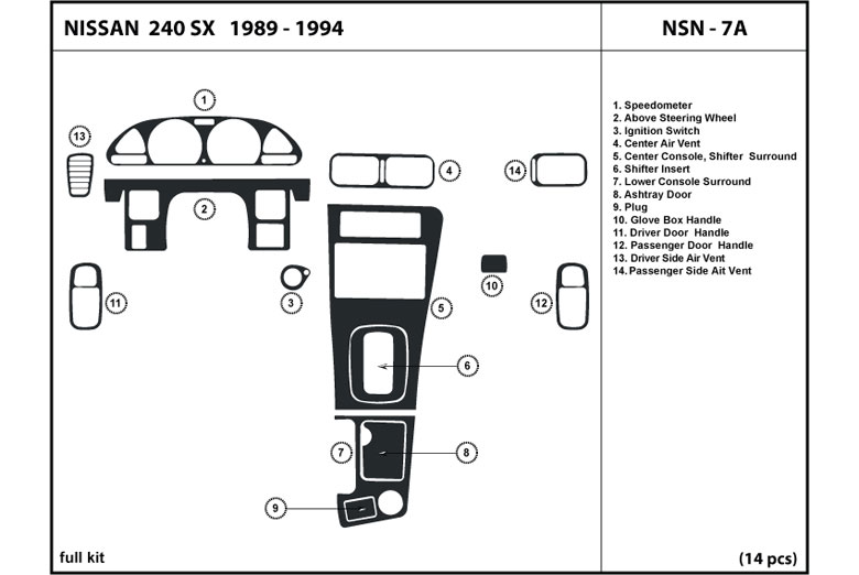 1989 Nissan 240SX DL Auto Dash Kit Diagram