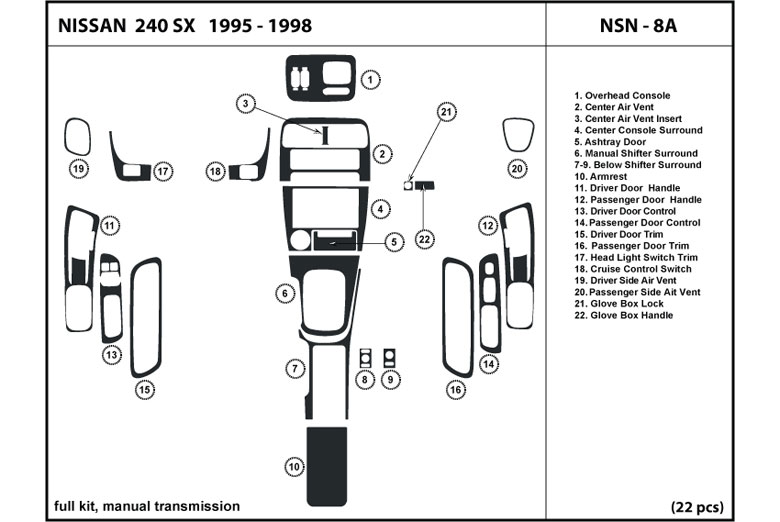 1996 Nissan 240SX DL Auto Dash Kit Diagram