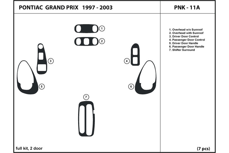 2002 Pontiac Grand Prix DL Auto Dash Kit Diagram