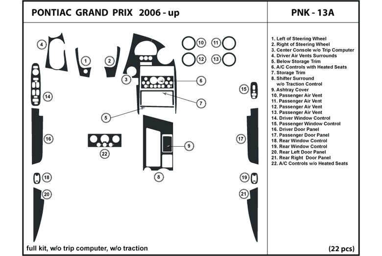 2008 Pontiac Grand Prix DL Auto Dash Kit Diagram