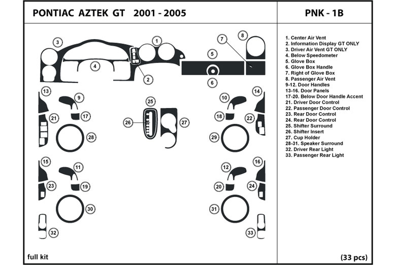2001 Pontiac Aztek DL Auto Dash Kit Diagram