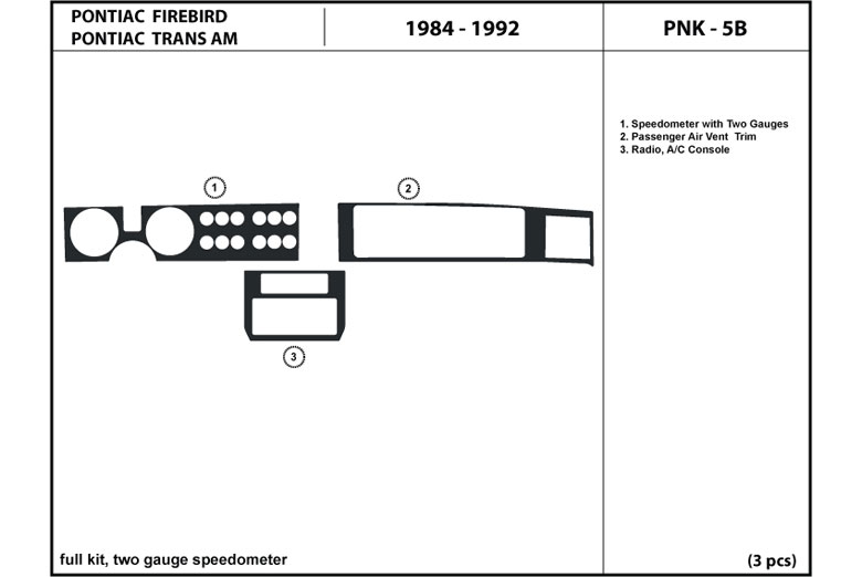 1986 Pontiac Firebird DL Auto Dash Kit Diagram