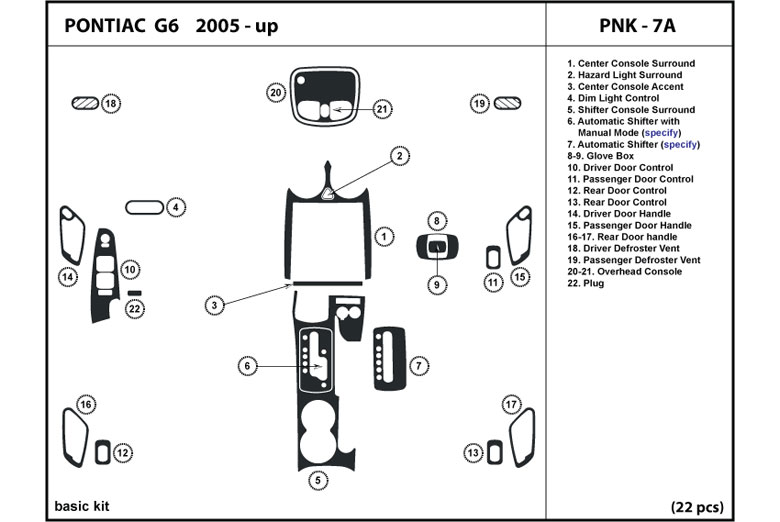 DL Auto      Pontiac    G6    2005   2010 Dash Kits