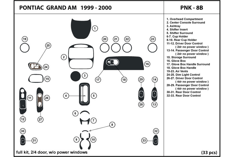 1999 Pontiac Grand Am DL Auto Dash Kit Diagram