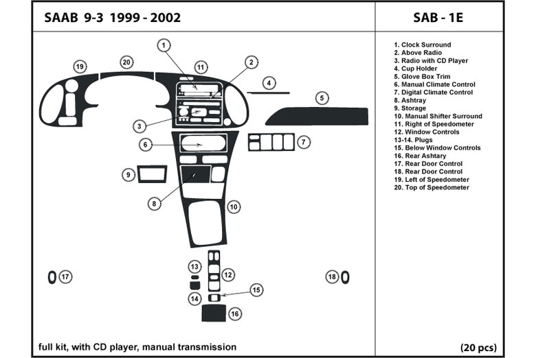 2002 Saab 9-3 DL Auto Dash Kit Diagram
