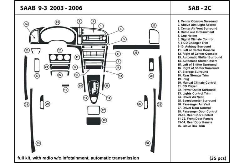 2003 saab 9-3 dl auto dash kit diagram