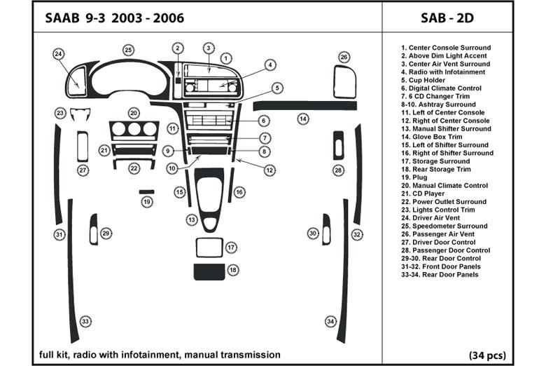 dl auto saab 9 3 2003 2006 dash kits rh rvinyl com Saab 9-3 2.0T Sport Sedan 2003 Saab 9-3