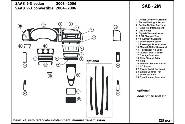 dl auto saab 9 3 2003 2006 dash kits. Black Bedroom Furniture Sets. Home Design Ideas