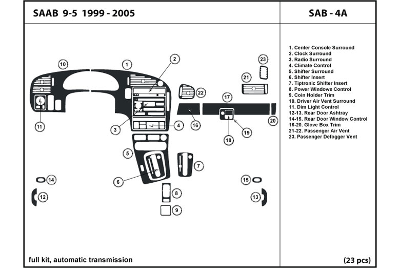 1999 Saab 9-5 DL Auto Dash Kit Diagram