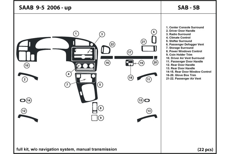 2010 Saab 9-5 DL Auto Dash Kit Diagram