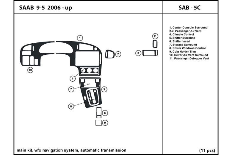 2006 Saab 9-5 DL Auto Dash Kit Diagram