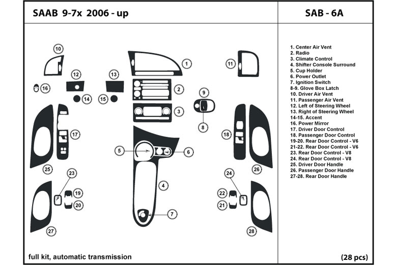 2009 Saab 9-7X DL Auto Dash Kit Diagram