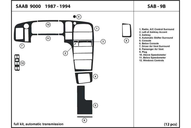 1987 Saab 9000 DL Auto Dash Kit Diagram