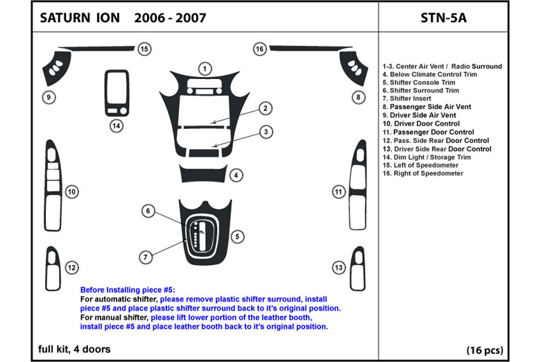 2006 Saturn Ion DL Auto Dash Kit Diagram