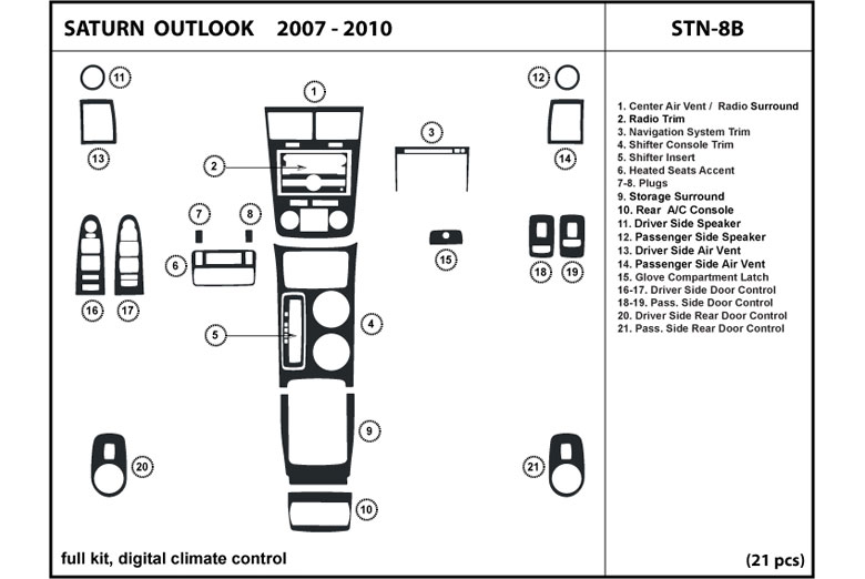 2007 Saturn Outlook DL Auto Dash Kit Diagram