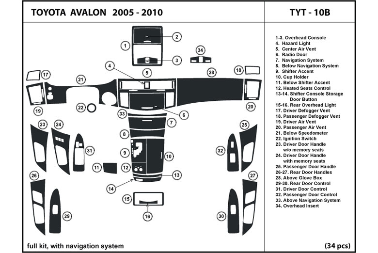 2005 Toyota Avalon DL Auto Dash Kit Diagram