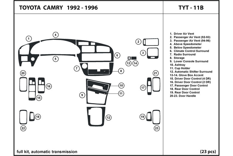 1993 Toyota Camry DL Auto Dash Kit Diagram