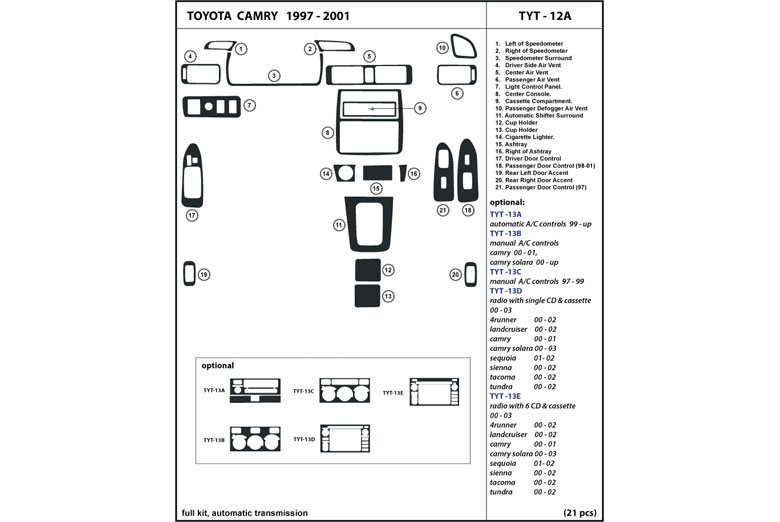 1997 Toyota Camry DL Auto Dash Kit Diagram