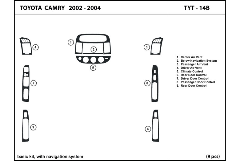 2003 Toyota Camry DL Auto Dash Kit Diagram